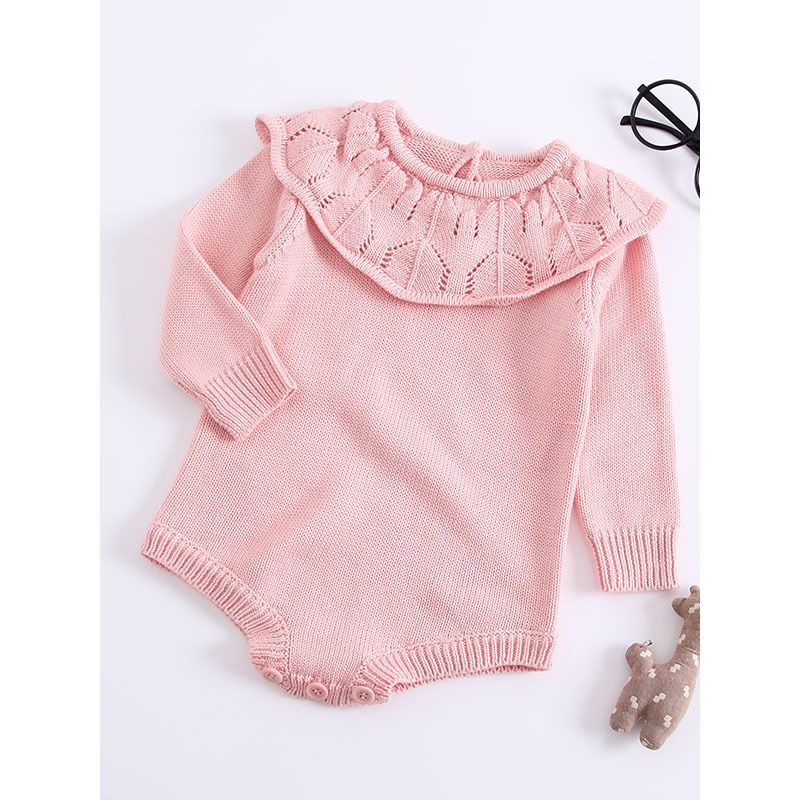 Kiskissing pink Ruffled Pierced Collar Knitted Infant Girl Romper Cotton Baby Bodysuit Long Sleeve the obverse side wholesale kids clothing