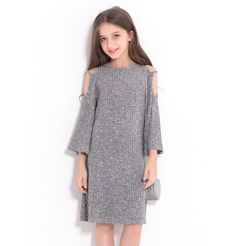 Trendy Grey Junior Big Girl Off shoulder A Dress Long Sleeve for Autumn Spring