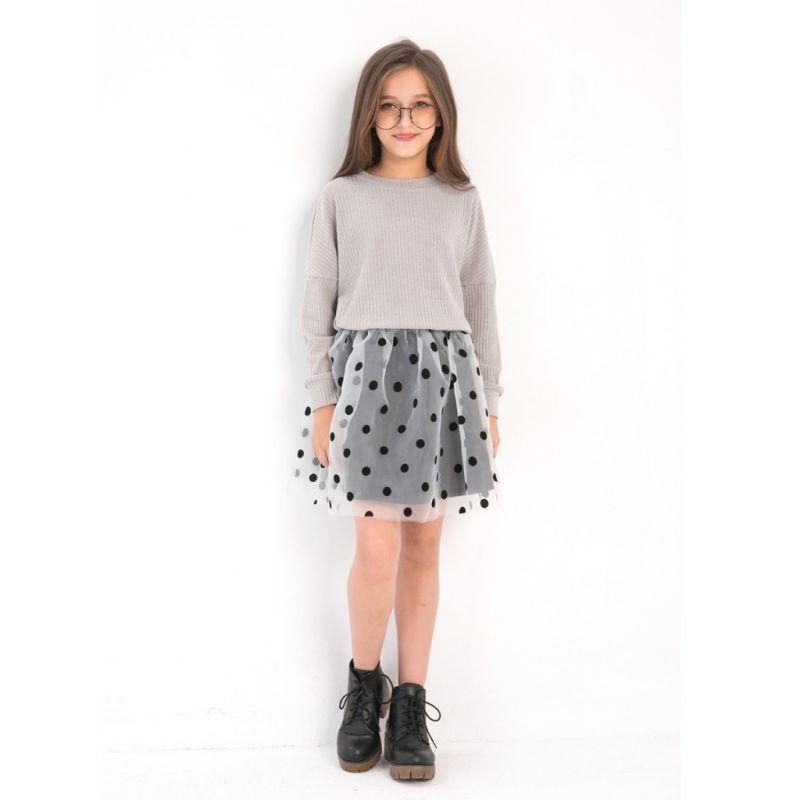 2PCS Big Girl Dress Set Outfit Striped T-shirt Top Long Sleeve+Black Polka Dots Skirt for Autumn Spring