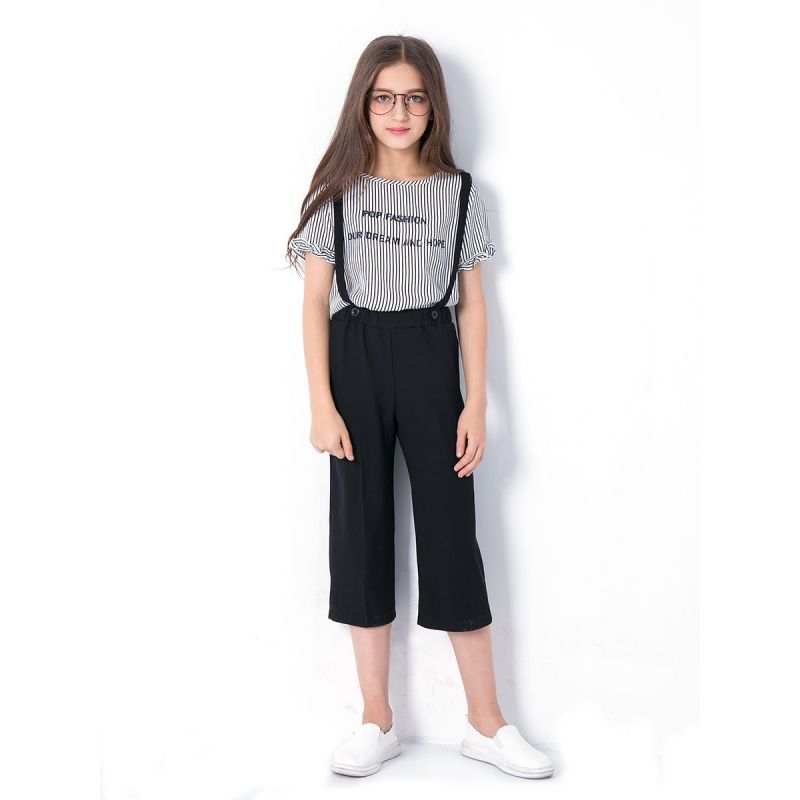 2PCS Junior Big Girl Summer Top and Trousers Clothes Set Casual Letter Print Striped T-shirt Top Short Sleeve+Black Suspender Cropped Trousers
