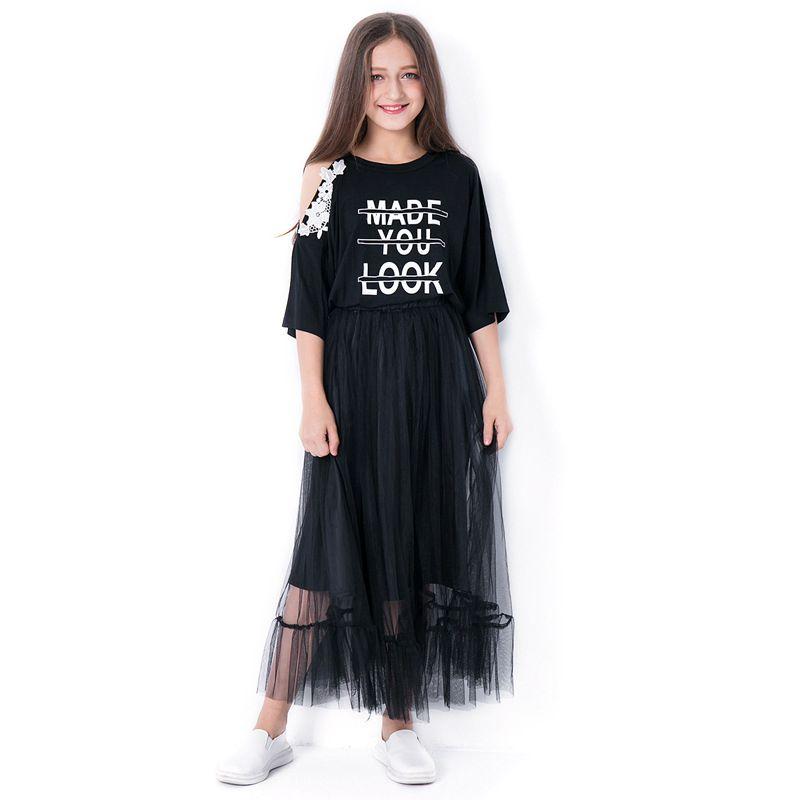 2PCS Trendy Junior Big Girl Summer Dress Set Made You Look Print One Off Shoulder Floral T-shirt Top Half Sleeve+Black Tulle Skirt