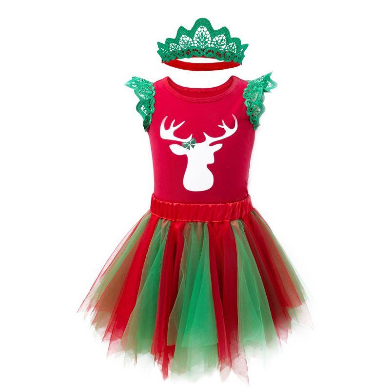 3PCS Toddler Big Girl Christmas Clothes Outfit Set Reindeer Print Flutter Short Sleeve T-shirt +Tulle Asymmetrical Hemline Dress Long Sleeve+Floral Pierced Headband