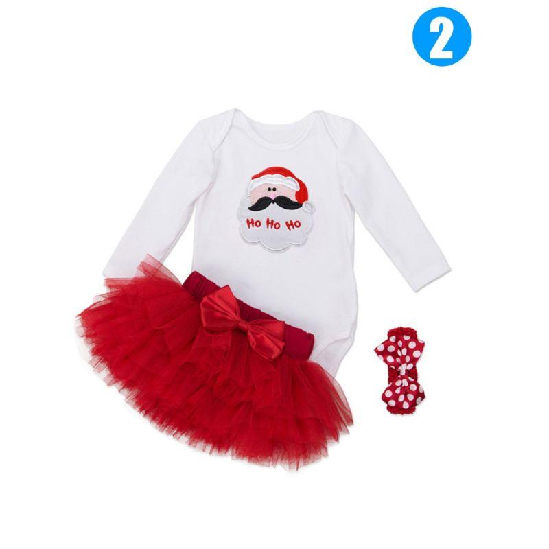 3PCS Christmas Infant Girl Romper Skirt Set Santa Clause/Love Heart/Cake/Ice Cream Pattern Romper+Bowknot Tulle Red Tutu Skirt+Polka Dots Bow Headband