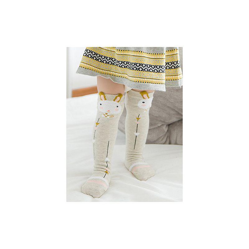 3 Packs Tube Socks for Baby Girls Patterned Knee Length Socks for Toddler 0-3X