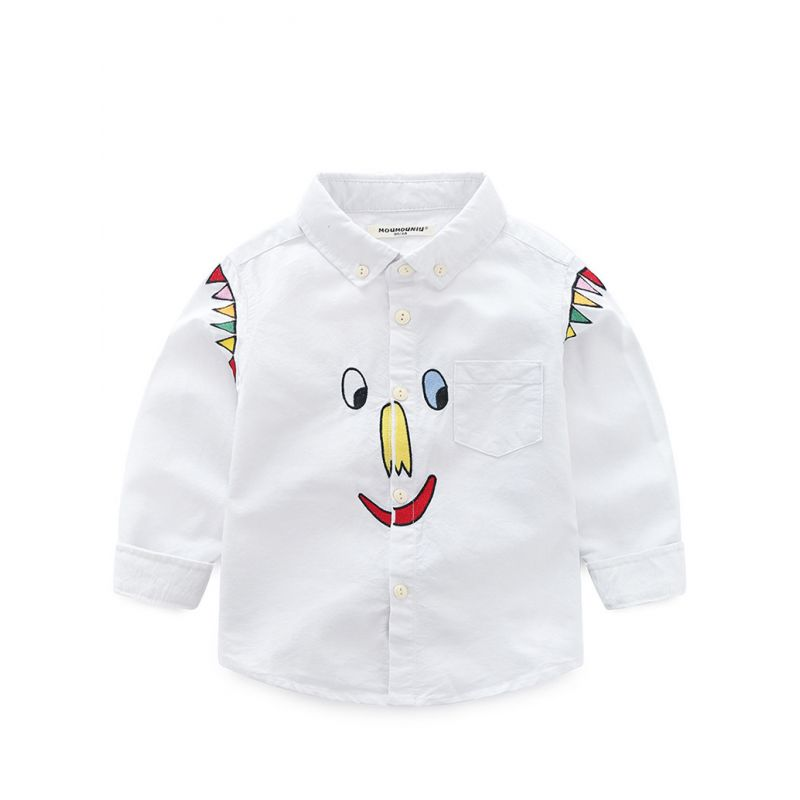 5PCS/PACK Cartoon Embroidery T-shirt Kids Boy Casual Clothes Top Long Sleeve