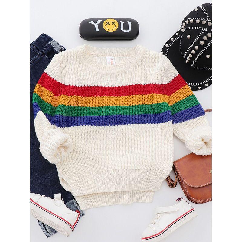 5PCS/PACK Rainbow Crochet Cotton Sweater Boys Cotton Pullover Kids Autumn Knitwear