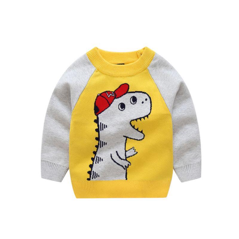 Dinosaur Crochet Color-blocking Sweater Baby Boy Sweatshirt Pullover Long Sleeve