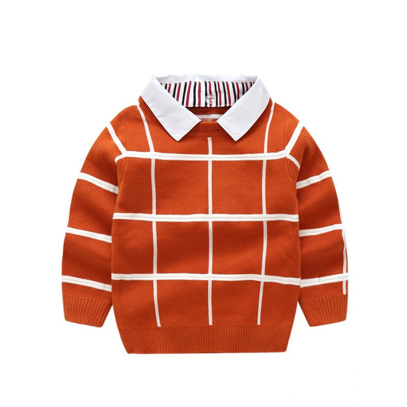 Classic Checked Turn-down Collar Sweatshirt Big Boys Pullover Jumper for Autumn Spring