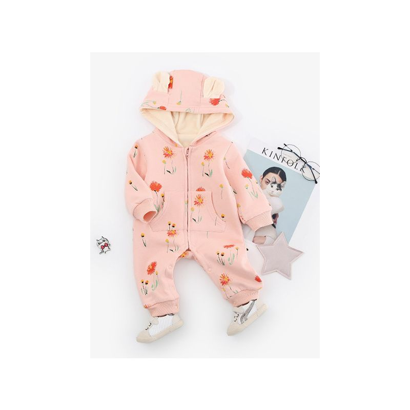 85fdc6b083 Unisex Baby Animal Flower Fleece-Lined Hoodie Romper with Zipper Infant  Winter Bodysuit Jumpsuit Onesie