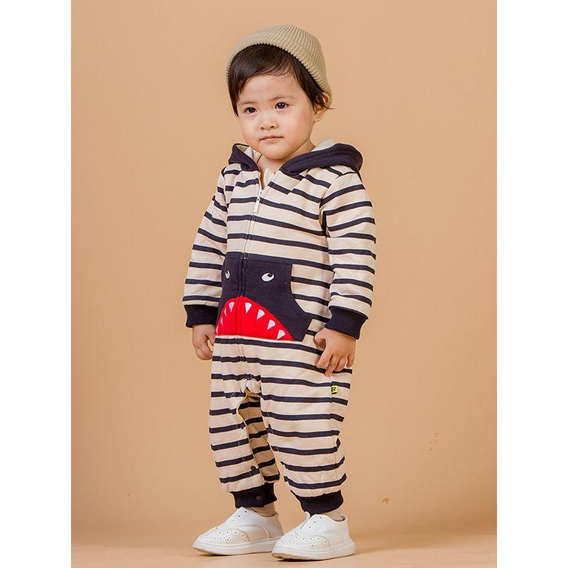 Fashion Cool Shark Pattern Striped  Fleece-Lined Hooded Baby Romper Jumpsuit Infant Winter Bodysuit