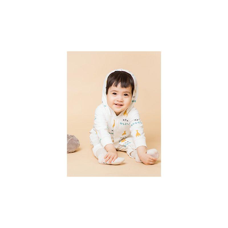 X Rhombus Printed Pointy Hat Baby Romper Jumpsuit Long Sleeve