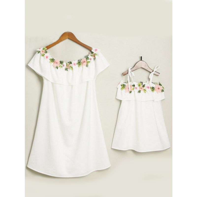 Mommy and Me Floral Flower Embroidery Summer Off Shoulder Dress White/Pink