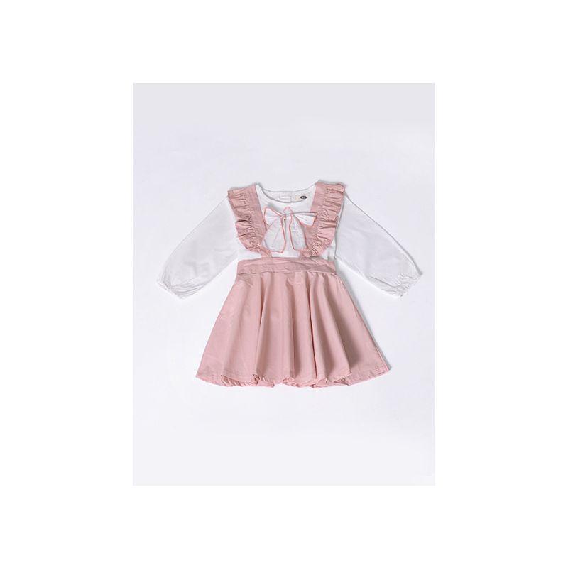 2PCS Autumn Baby Toddler Girl Dress Set Outfit Peter Pan Collar Bow White Blouse Shirt Top+Pink Ruffled Dress