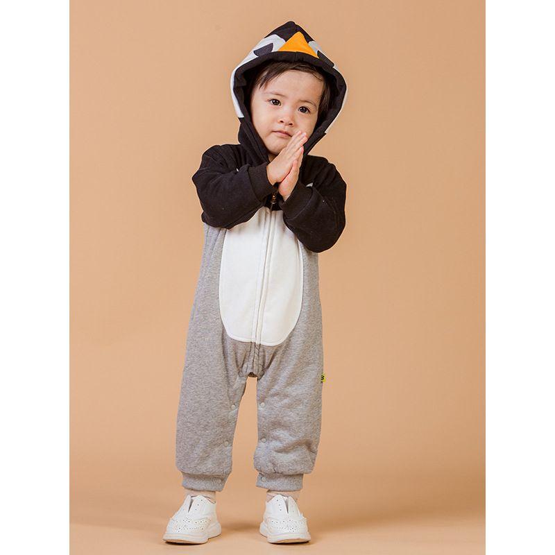 Cartoon Bear Sheep Penguin Cat Plane Pattern Fleece-lined Romper Winter Baby Boy Girl Bodysuit