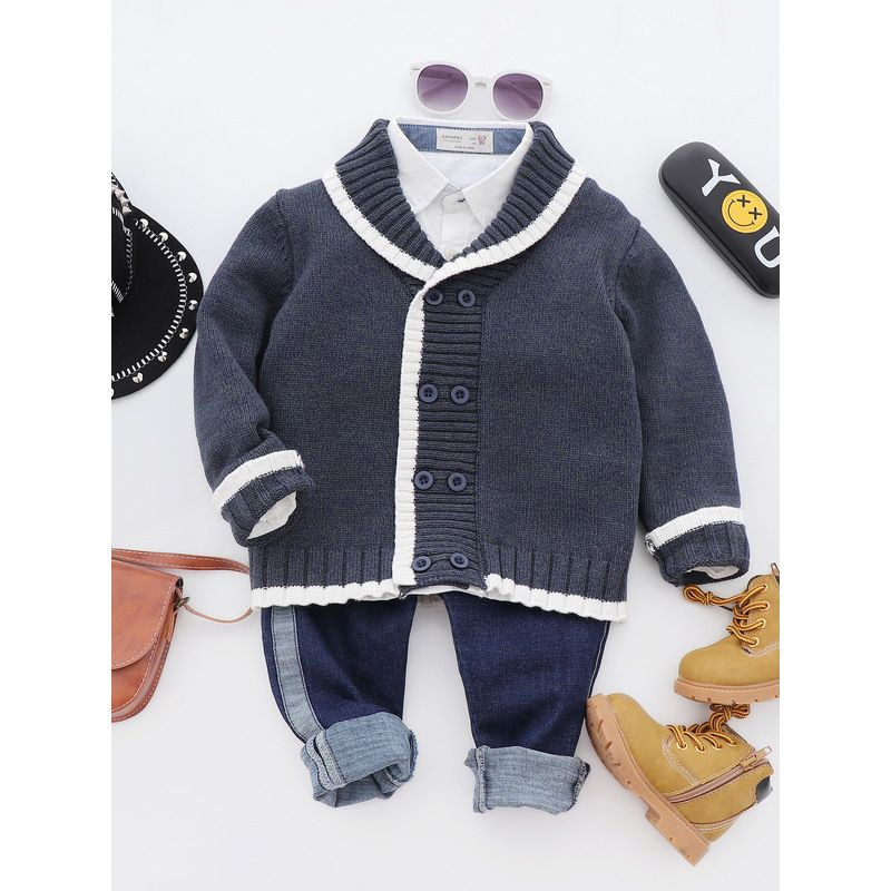 Classic Baby Toddler Big Boys Shawl Collar Cardigan School Kids Cotton Knitted Sweater 	12-10新增