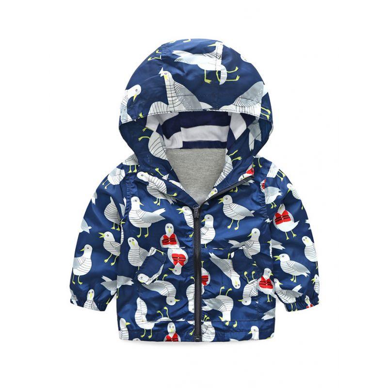 5PCS/PACK Birds Print Hooded Outdoor Light Windproof Jacket Toddler Big Boys Jacket Sportswear