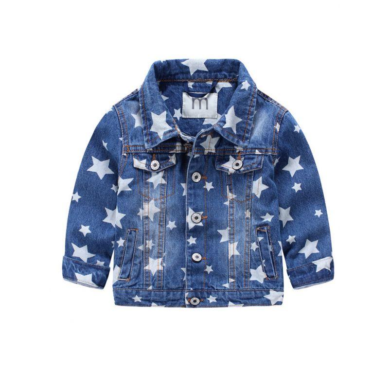 6PCS/PACK Fashion Star Flower Print Demin Jacket Kids Big Girls Jeans Jacket
