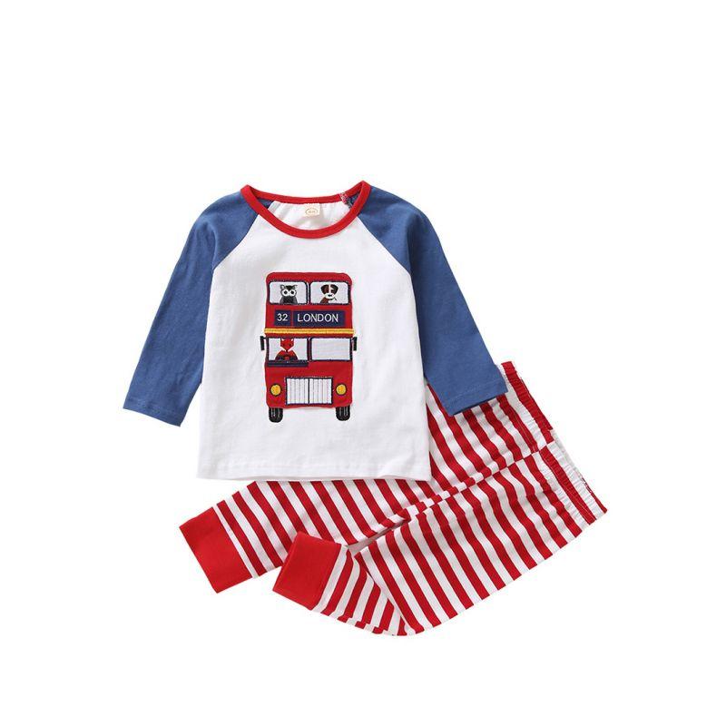 2PCS Comfortable Baby Toddler Cartoon Loungewear Set Cartoon Animal Car Color Block Pullover Top + Red Striped Leggings Baby Boys Girls Kids Sleepwear