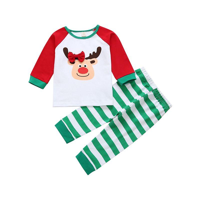 1f1cca1b9 2PCS Toddler Big Boys Girls Christmas Homewear Set Long Sleeve Bow Reindeer  Color Block T-