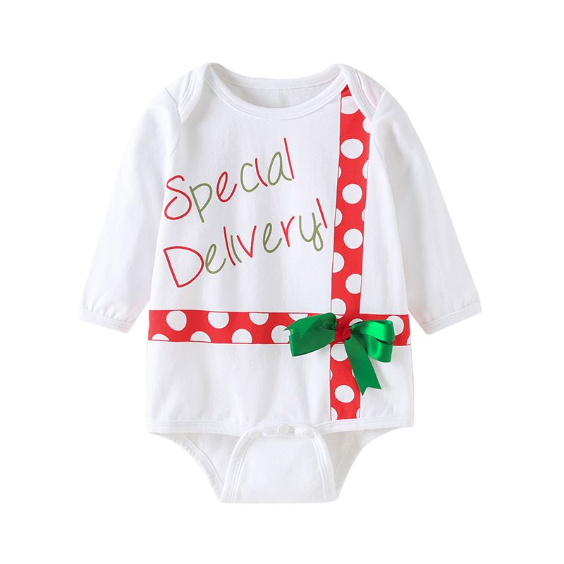 Christmas Bow Special Delivery Letter Print Infant Romper Onesie Xmas Baby  Clothes 56e6e2a510a8