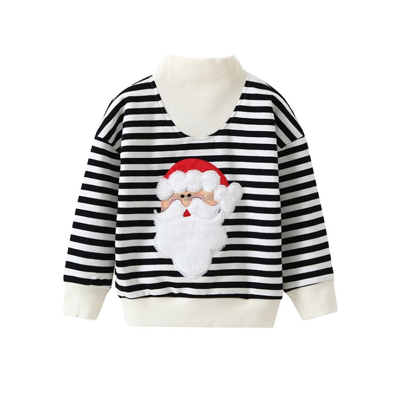 Mom and Dad Christmas  Santa Clause Applique Black Striped Cotton Jumper Sweatshirt Long Sleeve