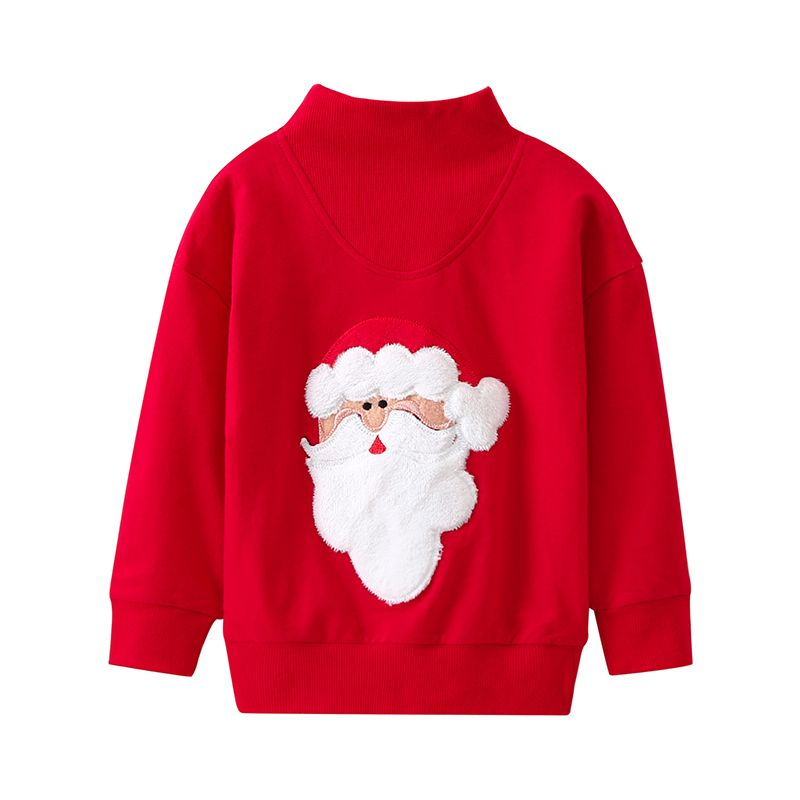 Mon and Dad Xmas  Santa Clause Applique Red Cotton Jumper Sweatshirt Long Sleeve