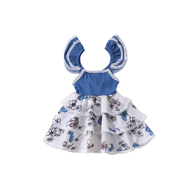 Fashion Flutter Sleeve Floral Print Layered Dress Baby Toddler Girl Summer Dress Spanish Style Clothes