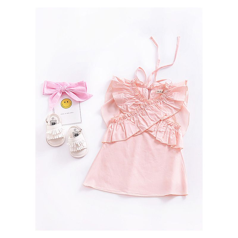 Pink Butterfly Style Ruffled Cross Trimmed Flutter Sleeve Baby Girl Summer Dress Spanish Style Baby Clothes