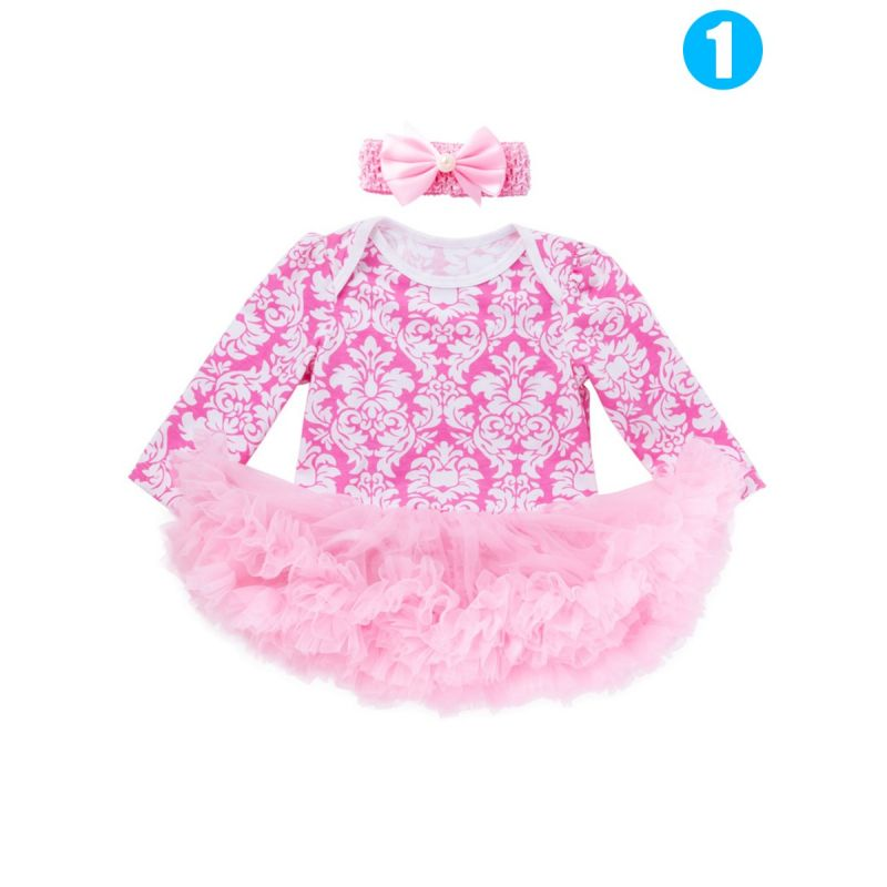 Cute Floral Infant Girls Romper Tulle Dress with Bowknot Headband