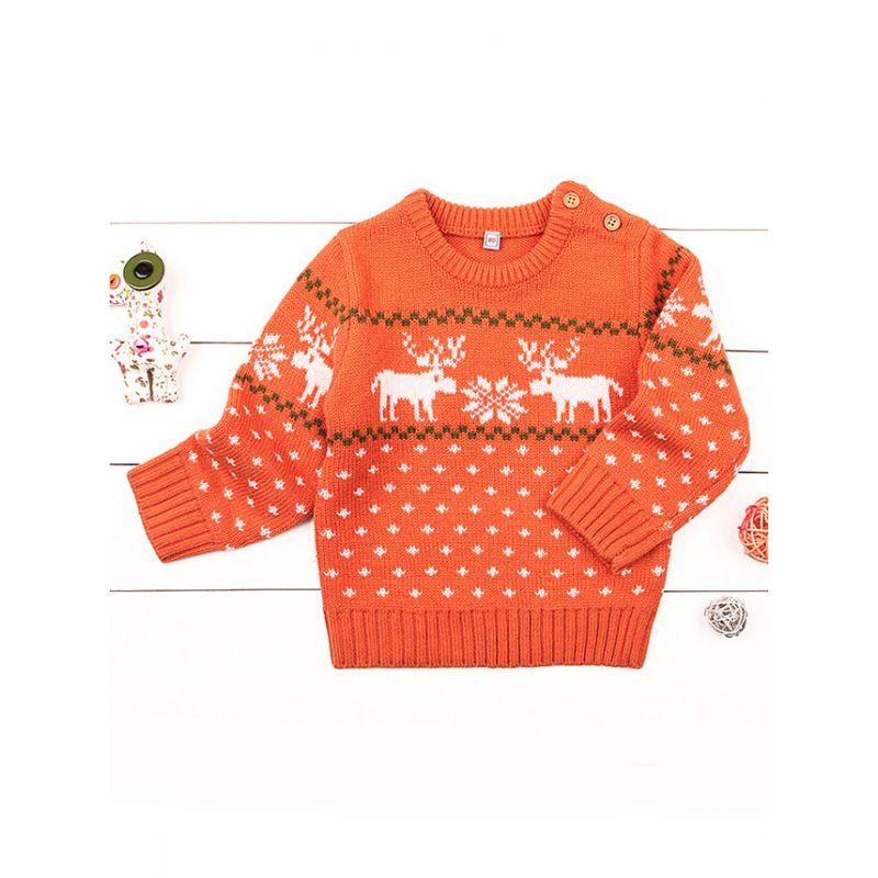 d8dfe5a902ba5 Christmas Elk Snowflake Knitting Sweater Baby Boy Crochet Sweatshirt  Jumper. Tap to expand