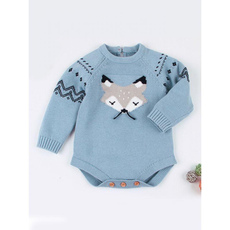 Wholesale Cute Cartoon Fox Crochet Baby Romper Infant