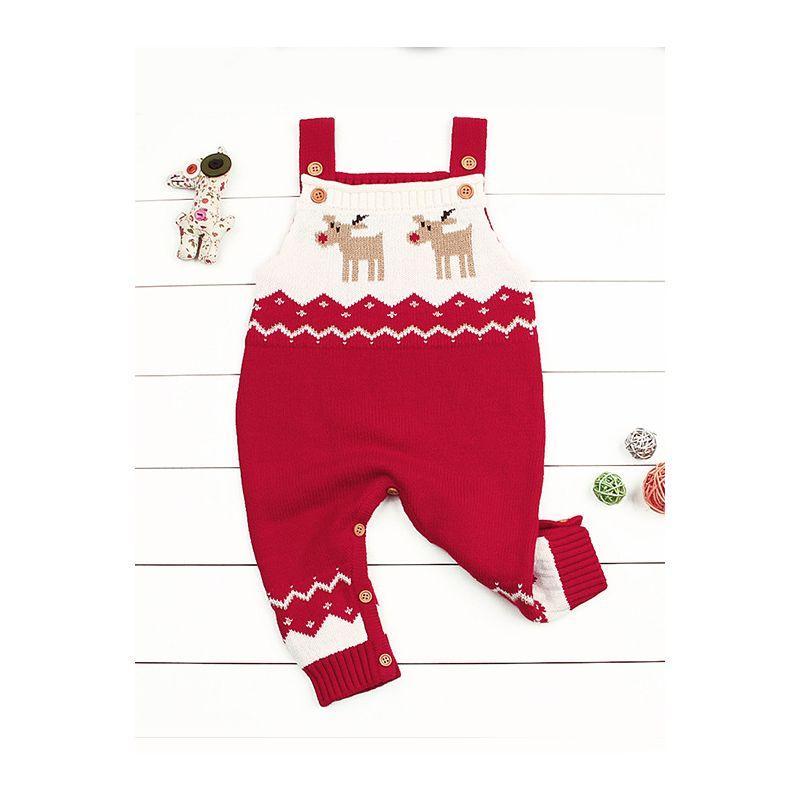 c05ad81831b Christmas Elk Crocheted Suspender Baby Romper Xmas Infant Knit Jumpsuit  Onesie