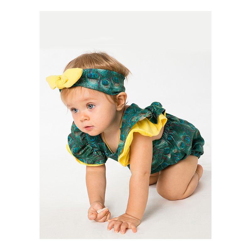 1371a8e7078 Summer Stylish Peacock Flutter Sleeve Baby Romper with Bow Headband