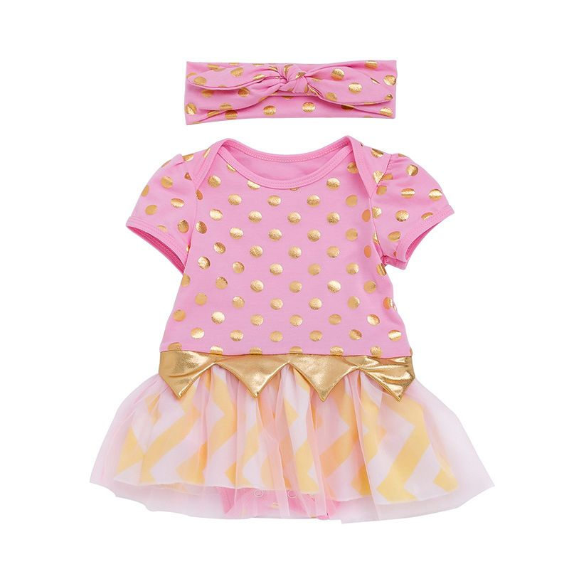 Summer Adorable Gold Polka Dots Baby Girl Tulle Romper Dress Short Sleeve with Bowknot Headband