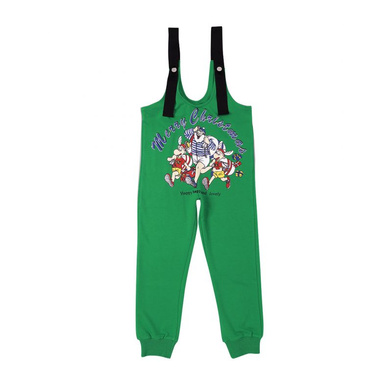 Christmas Cartoon Suspender Pants with Back Pockets Kids Xmas Overalls Bottom