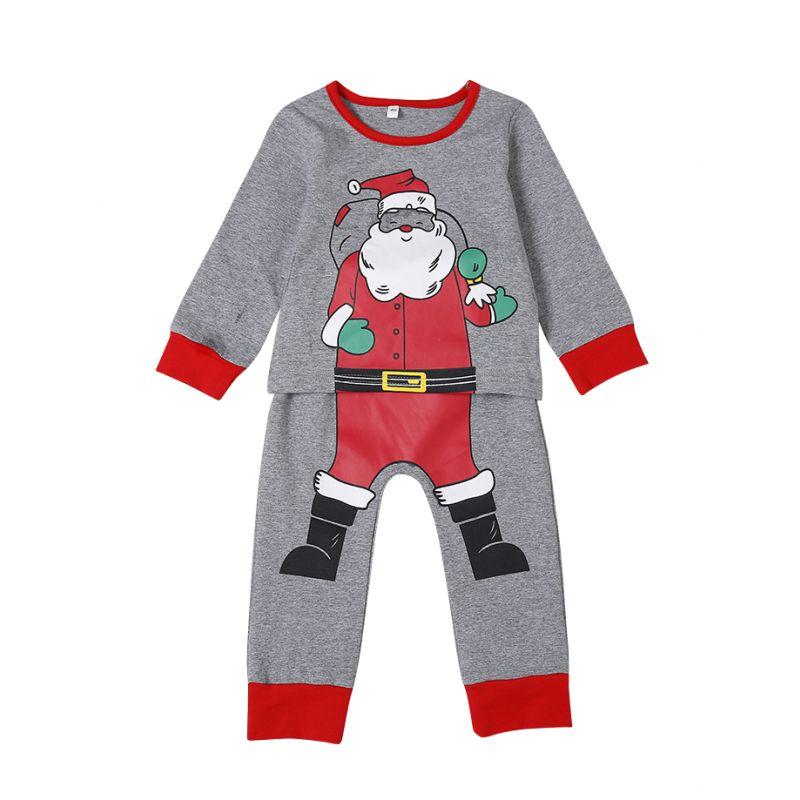 2PCS Infant Christmas Pajama Set Santa Clause Print Tee Tops+Long Trousers
