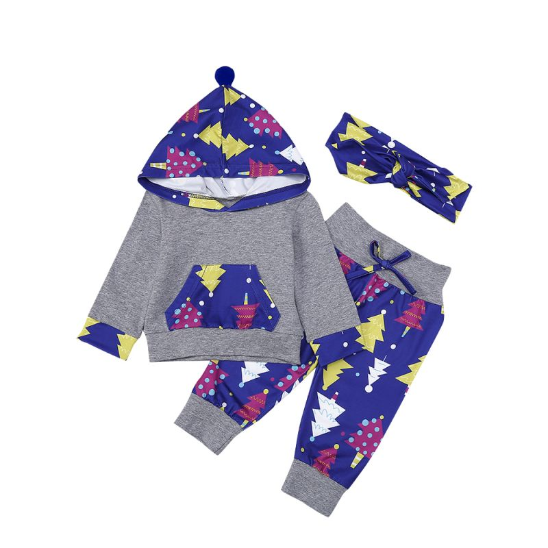 4677ada28 Wholesale 3PCS Baby Girl Christmas Clothes Set Hoodie