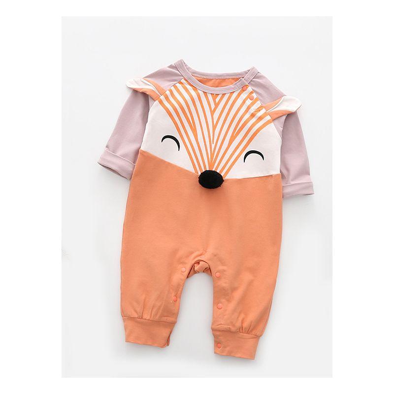Adorable Fox Pattern Baby Romper Jumpsuit Newborn Girl Boy Cotton Onesie