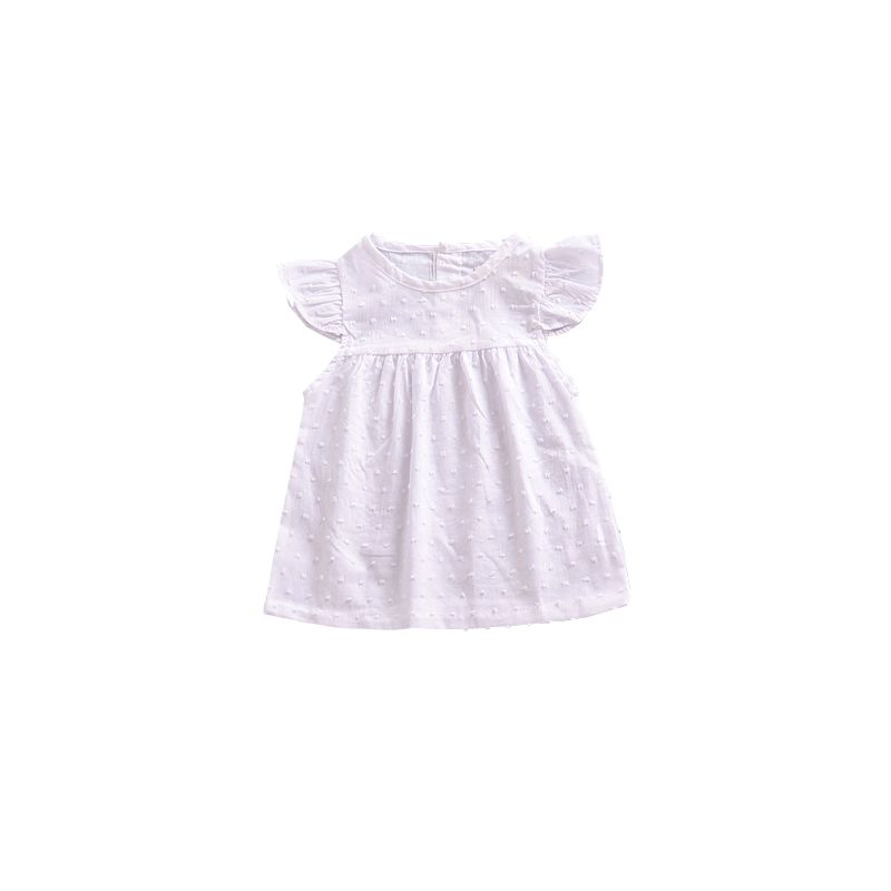 Baby Girl White Flutter Sleeve Christening Dress for Summer