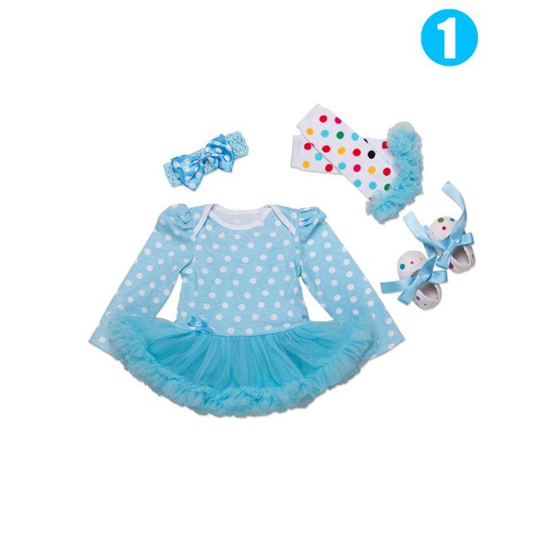 4PCS Infant Girls Party Romper Dress Set Outfit Polka DotsTutu Romper Dress+Tulle Trimmed Polka Dots Warm Legwarmers+Prewalker Shoes +Pink Bowknot Headband