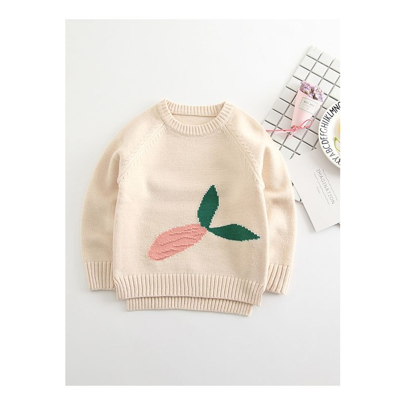 Autumn Radish Crochet Sweater Crew Collar Knitted Jumper for Girls