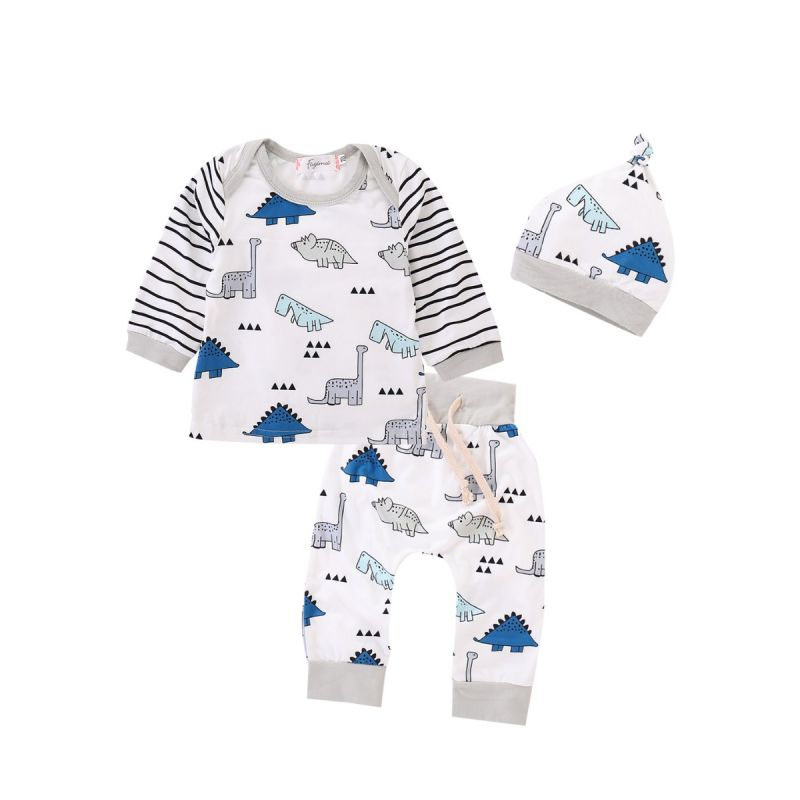 3PCS Baby Boys Girls Clothes Set Outfit Cute Cartoon Dinosaur Striped T-shirt Top Long Sleeve+Long Pants+Hat
