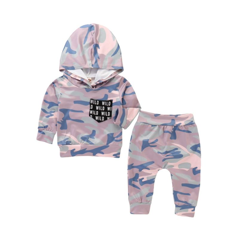 2PCS Fashion Baby Boys Girls Camouflage Sportswear Set Hoodie Sweatshirt Top+Long Pants