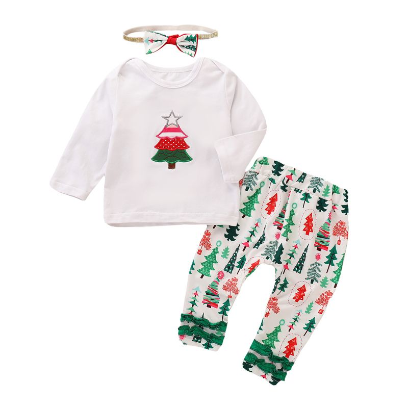 3PCS Baby Girls Christmas Apparel Set Star Christmas Tree Embroidery T-shirt Top+Christmas Tree Print Long Pants+Bow Headband