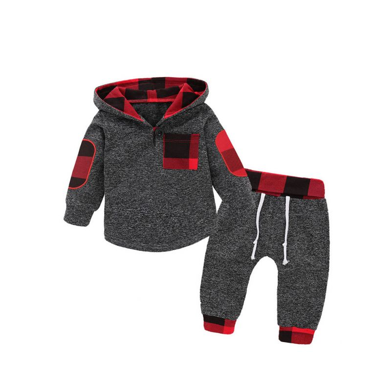 2PCS  Fashion Children Clothing Set Hoodie Jumper Patch Sleeve+Long Pants