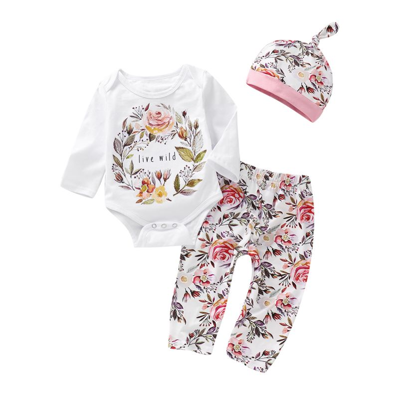 3PCS Baby Girl Clothes Set Outfit Floral Long Sleeve Romper+Flower Print Pants+Hat