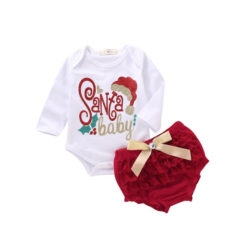 2PCS Infant Girls Xmas Clothes Set Shiny Santa Letters Baby Romper+Red Ruffled Bow Panties