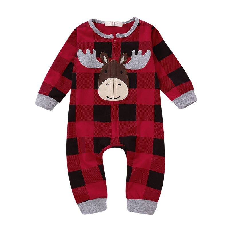 Cute Christmas Reindeer Checked Jumpsuit Pajama with Zipper for Baby Boys Girls