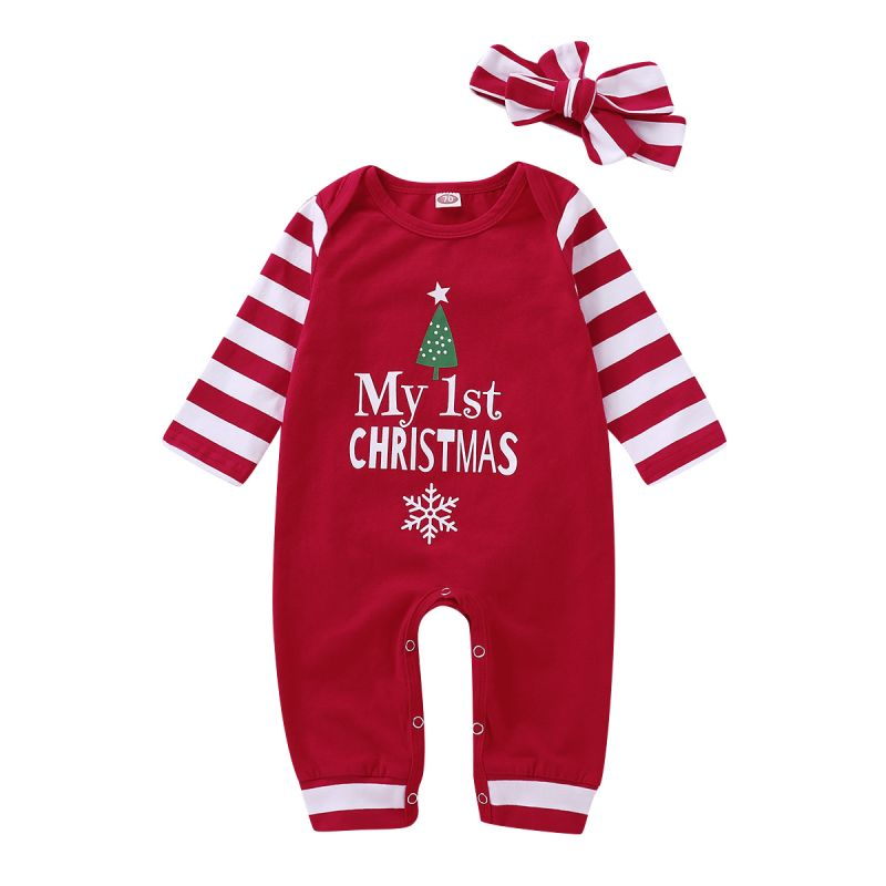 My 1st Christmas Baby Romper Pajama with Striped Headband