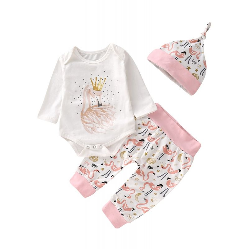 3PCS Baby Girl Clothing Set Outfit Swan Print Romper +Long Pants+Hat